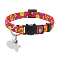 Cat Collar Breakaway & Tag Custom Safety Quick Release for Puppy Pet Dog Kitten