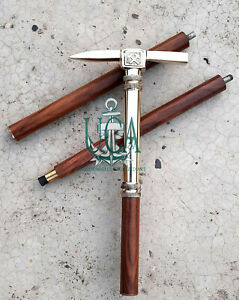 Brass Designer Victorian Handle Head Wooden Walking Stick Ice Axe Look Cane Gift