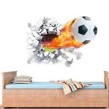 3D Football Wall Sticker PVC Art  Soccer Crack Decal Kids Boys Room Home Decor