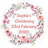 48 Personalised Christening Baptism Stickers FLOWER BORDER  40mm Labels
