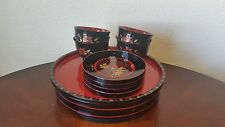 Vintage Asian Laquerware Tray Set 10 Piece Salad Set / Made In Japan