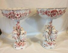 2 Ornate Dresden Candle/Compote Bowls, Pink Rose & White Attributed Salzendorf