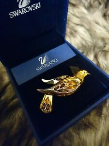 RETIRED SWAROVSKI CRYSTAL SILVER PARADISE BONRIKI BIRD BROOCH FULLY HALLMARKED