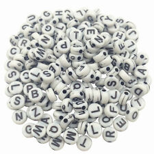 100 Acryl Buchstabenperlen Würfel-Perlen A-Z Mix Rund weiß schwarz bunt