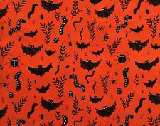 By 1/2 Yard ~ Windham Mischief Night Bats & Creepers Orange ~ Halloween Fabric