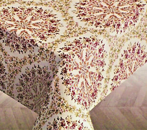 Ralph Lauren Floral Print Tablecloth Cotton Cream,Burgundy & Green 60 x 120