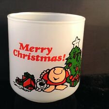 Tom Wilson ZIGGY Merry Christmas Votive Candle Holder 1978 White Glass