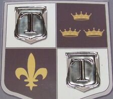 2 Pewter Adhesive Shields Letter T Initial Monogrammed Embellishments France