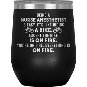 Nurse Anesthetist Wine Tumbler Glass Funny Gifts For Graduation Anesthesia J-64V