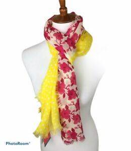 Lindsay Phillips Women's Floral Linden Scarf Yellow Pink Red White NWT Sheer
