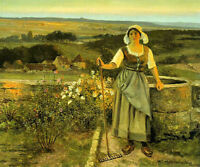 Oil painting jean beauduin beauduin jean the gleaner woman by well in landscape