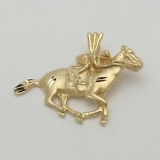 NEW 14K Gold Thoroughbred Racing Horse & Jockey Charm Pendant 2.8gr