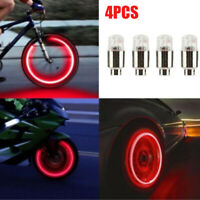 4pcs Car Auto Wheel Tire Tyre Air Valve Stem LED Light Cap Cover Accessory Red