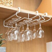 Under Cabinet Wine Glass Rack Hanging Cup Holder Bar Goblet Stemware Storage~