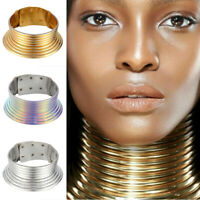 Jewelry Hot Choker Maxi Collar Coil Necklace Vintage Metallic Adjustable African