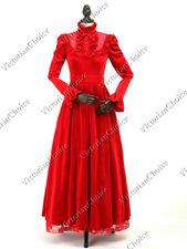 Victorian Edwardian Vintage Red Velvet Dress Beetlejuice Vampire Costume 115 M
