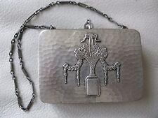 Antique Art Deco Nouveau Hammered Silver T Basket Lipstick Card Case Compact S