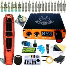 Complete Tattoo Kit Motor Pen Machine Color Inks Power Supply Needles Q