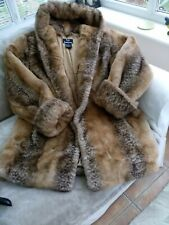 DENNIS BASSO NEW FAUX FUR WINTER COAT WITH HOOD  WARM AND COSY.
