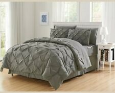 Elegant confot  GREY  PINTUCK 8 PCS COMFORTER SHEETS FULL/QUEEN SET