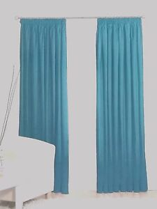"""100% COTTON CANVAS CURTAINS in TEAL BLUE  OCEAN BLUE  3"""" TAPE TOP"""