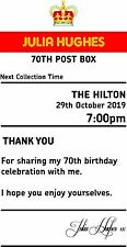 Birthday 70th sign  4' x 7.5'  royal mail insert post box Card Box