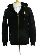 Forte Mens Black Gold Tone Metal Hooded Faux Leather Contrast Jacket Size Small