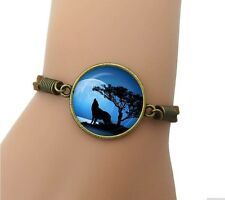 Howling Wolf Round Pendant Cabochon Brown Leather Bracelet USA Shipper #236