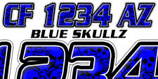 BLUE SKULLS Custom Boat Registration Number Decals Vinyl Lettering Stickers