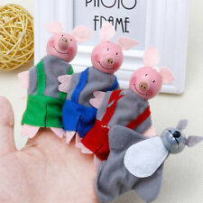 4 Pcs Three Little Pigs Finger Puppets Wooden Headed Baby Kids Educational Toy