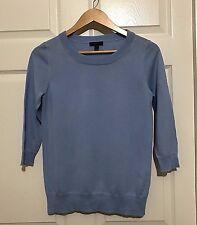 J CREW Sweater Women 3/4 Sleeve Merino Wool Light Blue XS