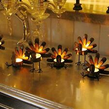 6 Pack Metal Turkey Tea Light Candle Holders, Thanksgiving Decoration for Home