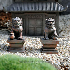 Miniature Fairy Garden Guardian Lions, Set of 2