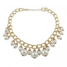 fashion collar oro con GRANDES BLANCA Selección perlas fiesta boda pomposo