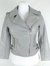 BCBG Motorcycle Biker Grey Vegan Soft Faux Leather Jacket Coat Women Size S D29