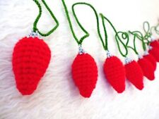 Christmas light bulbs decorative garland hand crochet red & green color