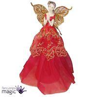 Gisela Graham Red Gold Glitter Angel Christmas Xmas Tree Topper Fairy Decoration