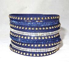AVVOLGI il bracciale cristalli brillanti con borchie d'oro in Blu