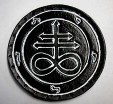 LEVIATHAN CROSS white lines  GENUINE LEATHER  PATCH black metal