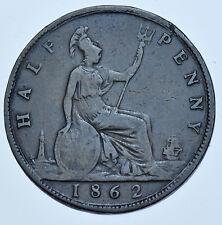 Estremamente RARA 1862-a Mezzo Penny, marchio di zecca una moneta britannica, dalla Victoria BELLE