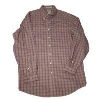LL Bean Long Sleeve Button Down Shirt Men's Large Tall LT Flannel Plaid Red