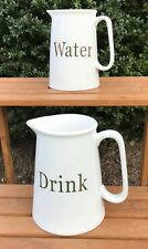 "Large 8""/7"" Grace's Teaware Ceramic Pitcher Set: ""Drink"" for Sangria/ ""Water"""