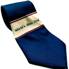 World's Best Dad Men's Necktie Novelty Blue White