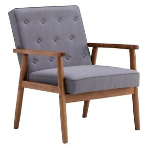 Retro Modern Wooden Single Chair  Grey Fabric UK Warehouse In Stock Cushion 100%
