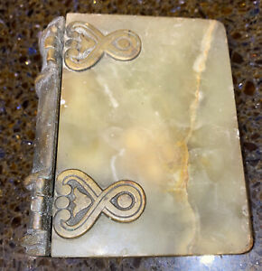 Antique Small Book cover made of Agate with Brass  binding