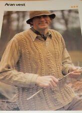 "Aran Style Men's Pullover Vest Quick 'n Easy Crochet pattern Chest 38"""