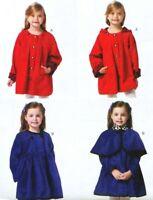 Children Lined Coat w Detachable Hood & Capelet Butterick B5809 Pattern CL 6-8