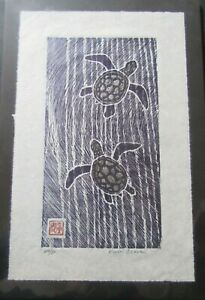 Ocean Sea Turtles woodcut woodblock print moku hanga Japanese washi signed Clark