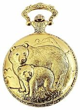 Pocket Watch Quartz White Gold Grizzly Bear Metal Fob Watch W-50742423742299