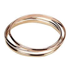 Tri Color Genuine Gold Finish Rose Gold Finish Set of 3 Slim Bangles